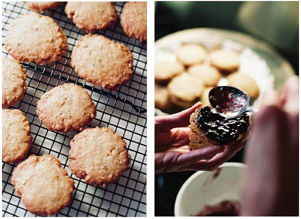 Walnut shortbread with blackberry jam